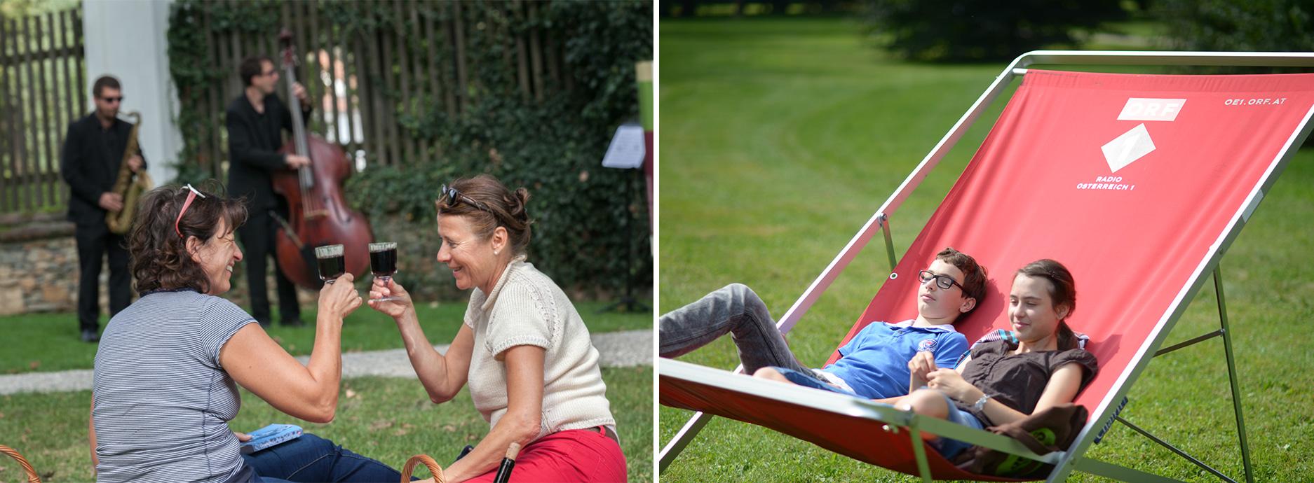 links frauen mit einem glas wein rechts kinder im liegestuhl. Black Bedroom Furniture Sets. Home Design Ideas