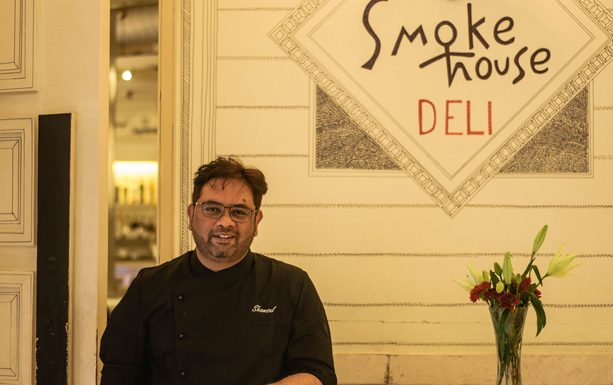 celebrated Indian chef Shamsul Wahid in the Smoke House Deli